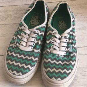 Vans Mint Green Chevron Print Sneakers  Size  8